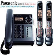 (REFURBISHED) Panasonic KX-TG1062M 2-Cordless+1-Corded Phone with Caller ID Answering Machine Metall