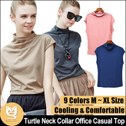 Turtle Neck Collar Tees Cotton Loose Fit Half Cap Sleeve OL Office Casual Top Free Size