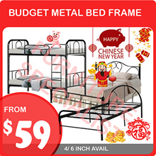 BUDGET METAL BED FRAME (SINGLE QUEEN DOUBLE DECK AVAIL)