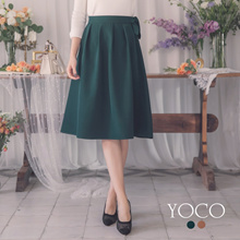 YOCO - Side Zip Knotted Thick Chiffon Skirt-181913