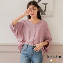 TOKICHOI - V-Neck Pleated Side Quarter Sleeves Top - 182651