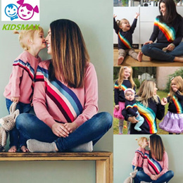 New Rainbow T Shirt Family Match Clothes Mom Daughter Baby Kids Long Sleeve T Shirts Family Match Sp
