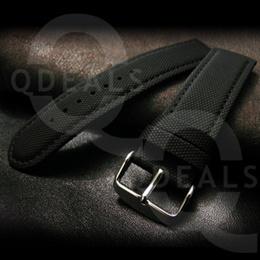 [Singapore Stock] Watch Accessory Black Kevlar Strap W Black Stitch Watch Band Sports-18mm/20mm/22mm