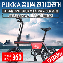PUKKA folding electric bicycle / free shipping / maximum mileage 300KM / battery capacity 48V20.8AH / motor output 240W / top speed 30KM / h / full-back disk brake /