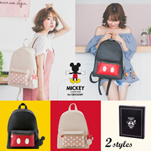 Gracegift-Disney Mickey Minnie Charm Front Pocket Backpack/Women/Girls Bags/Taiwan Fash