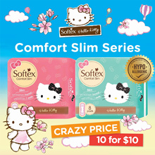 [10 packs] SOFTEX ★ CUTE Hello Kitty Comfort Slim Series Sanitary Pad | MAX COMFORT | Heavy Flow