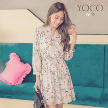 YOCO - Floral 3/4 Sleeves Dress-180607