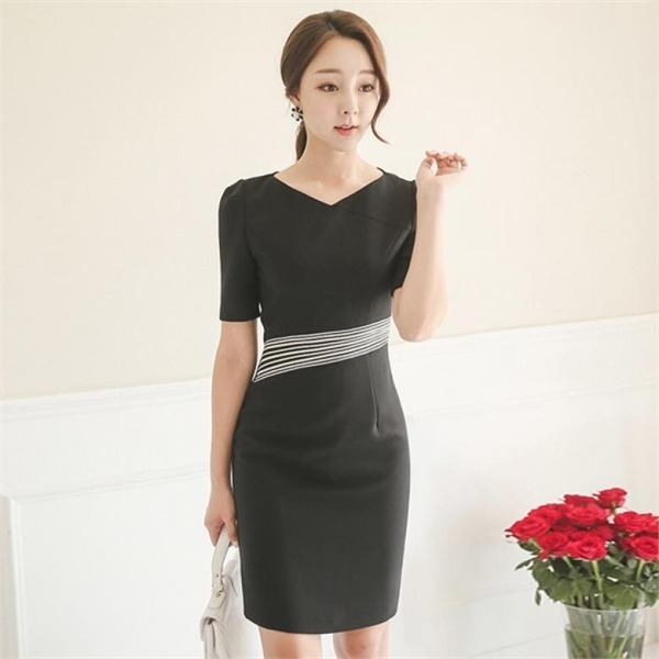 DRI366射線ゴールドライン半袖ワンピースnew 無地ワンピース/ワンピース/韓国ファッション
