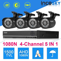 Incosky 4CH 1080N CCTV 5 IN 1 TVI AHD DVR   4 X 1500TVL 1.0MP Bullet Camera Security Kit US (Color: