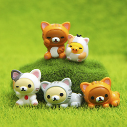 Lovely Cat 5pcs /set Rilakkuma Cosplay Mini Cat PVC Action Figures Toys Moss Bonsai Small Landscape
