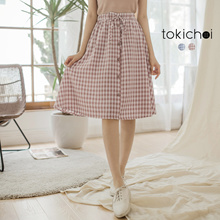 TOKICHOI - Checked Button Up Skirt-181067-Winter