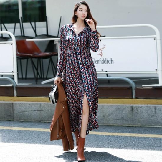 ディントゥD3391ケイト捺染マキシのワンピース 綿ワンピース/ 韓国ファッション
