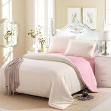 4pcs Gaya Sanding Solid Color Bedding Set Penghibur seprai Ukuran Setelan Queen Cover + Seprei + 2 sarung bantal Home Tekstil