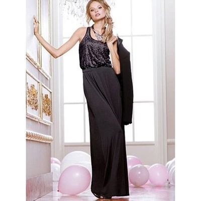 116b9683b4d9c Sequin + Jersey Knit Combination / Long Dress Dress Greco Style Maxi Dress  Free Shipping Party Dress