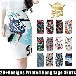 Korean Styled Printed MIDI LENGTH BANGDAGE SKIRTS Stretch Slim Office Wear