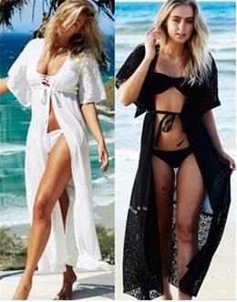Amazon Women s wear, European and American lace, chiffon cardigan, beach blouse, sunscreen.