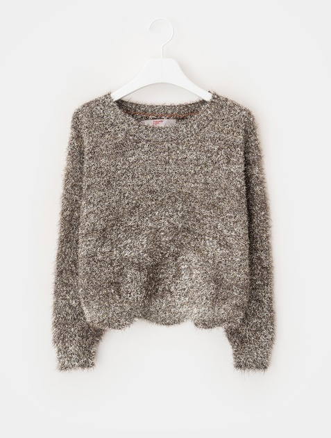 8SECONDS Glitter Hairy Cropped Knit - Yellow