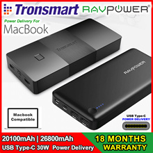 ★COUPON USABLE★ Macbook Powerbank - Tronsmart/Ravpower 20100/26800 mAh 30W USB Type-C Power Delivery