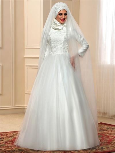 Qoo10 Leher Lace Tinggi Gaun Pengantin Muslim Arab Dengan Lengan