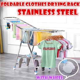 Foldable Stainless steel clothes drying rack with wheel save space clothes-horse Thickened and stron
