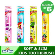 [Bundle of 6] Kodomo *New* Soft Slim Children Toothbrushes | Kids Toothbrush