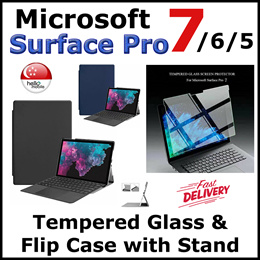 [SG] Microsoft Surface Pro 7 6 5 Tempered Glass Screen Protector / Flip Case Cover Casing