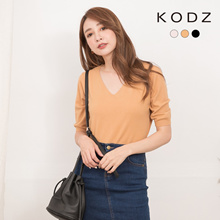 KODZ - V-Neck Knitted Elbow-Length Top-191162