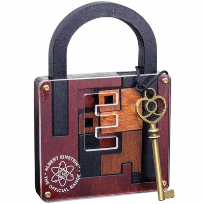 Professor Puzzle Einstein Official Range Padlock Wooden Puzzle - Solve Use  Gold Key To Open