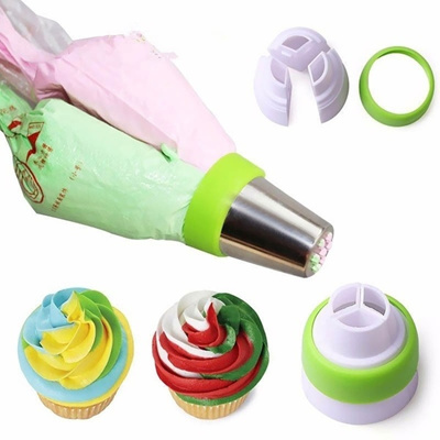 3 x 3 Holes Tri-color Cream Coupler Cake Decorating Tools Icing Piping  Pastry Bag Nozzle Converter C