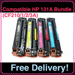 (SG Sales!) Compatible *BUNDLE* HP Printer Toner Cartridge CF210/1/2/3A (131A) *BUNDLE* (4 PIECES - KCYM)! For Used in HP Laserjet PRO 200 color M251 / HP Laserjet PRO 200 color MFP M276