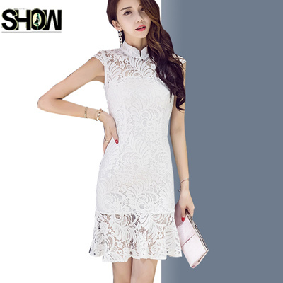 1f80efb58 Red Black White Lace Dresses Korean Style Design Women Fashion Slim Fit A  Line Hollow Out