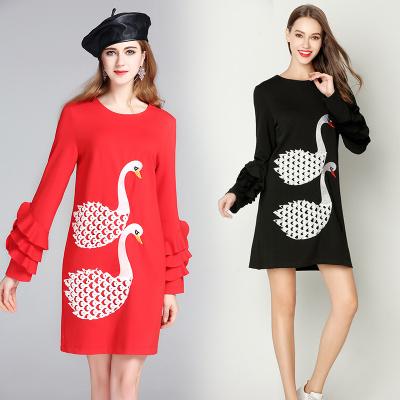 レディーズ女性 欧米風 秋冬 新品 刺繍入り フリル袖 長袖 ゆったり ワンピース クルーネック チュニック