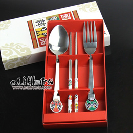 Peking Opera Cutlery Set Fork Spoon Chopsticks | Stainless Steel Dinning Must Have ** [ melrome.com ] Christmas Gift