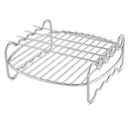 Airfryer Double Layer Rack with 4 Skewers Compatible with Philips Airfryer Models HD9216/17, HD922x,