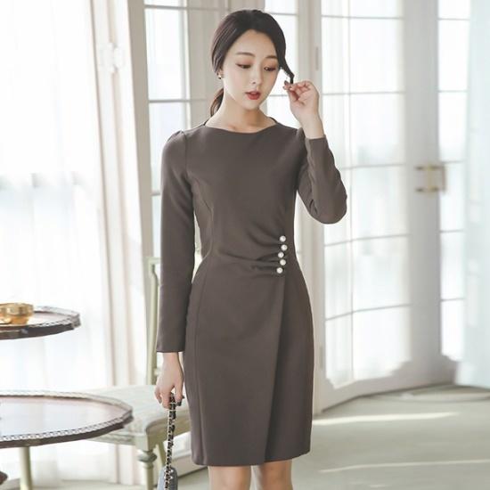 オッドDRI469、晋州チンジュボタン死線切開Hラインワンピース スーツワンピース/ 韓国ファッション