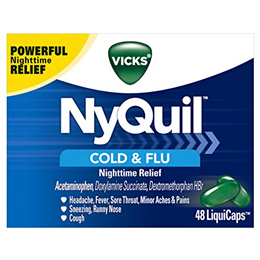 Vicks NyQuil Cough, Cold & Flu Nighttime Relief, 48 LiquiCaps - #1 Pharist Recommended – Night...