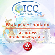 ◆ ICC◆【Malaysia+Thailand Sim Card·4-10 Days】❤  Unlimited data  ❤Plug and use❤Can extend more days