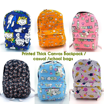Canvas Backpack School Backpack Outing Printed Canvas Backpack Laptop  Compartment Waterproof e045751698b43