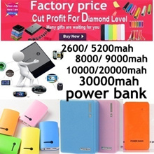Hot sale Factory price!2600mah 5600mah 8000mah 10000mah 20000mah 30000mah Backup Portable Power pack Mobile Charger Power Bank PowerBank Indicator light for Iphone/Samsung/HTC/Nokia