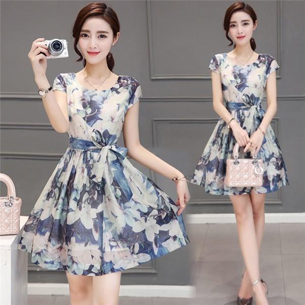 レディースワンピース 韓国無地 スリム 韓国のファッション  半袖ワンピース 上品 ロングスカート  ハイウエストワンピース  プリントワンピース  ハイセンス 着心地いい おしゃれ 夏 スリム セー