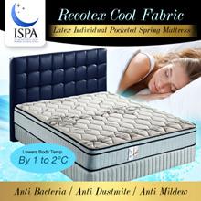 ISPA Certified 9.5 Inch Cool Fabric Natural Latex Individual Pocketed Spring Mattress |Sleep Kingdom