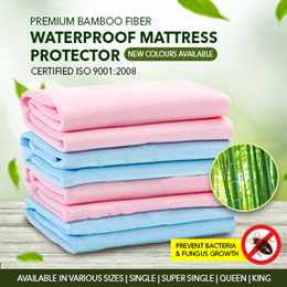 [PREMIUM QUALITY] Bamboo Fiber Waterproof Mattress Protector/ Bedsheet / Bed Protector Cover