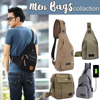 BEST SELLER - Unisex sling bag - shoulder bag   with USB fort   Canvas material - premium quality