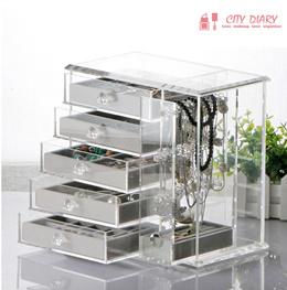 COUPON · Acrylic jewelry cosmetics organizer necklace earrings Organizer Makeup box Transparent Storage