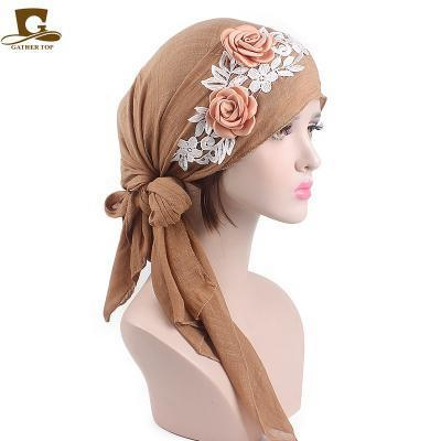d19ebba4748 Women Pre-Tied Cotton Bandana Turban 3D flower lace Head Scarf Chemo Hair  Cover Hat