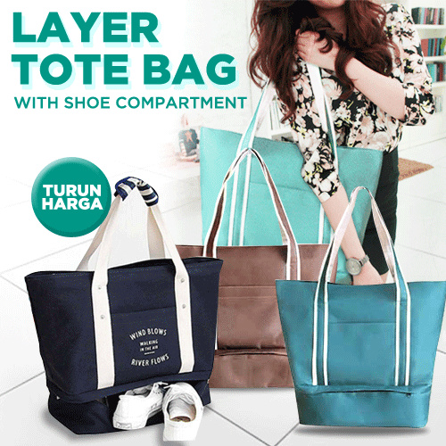 *NEW ARRIVAL* LAYER TOTE BAG!! TRAVEL CABIN TOTE BAG!SEPARATED SPACE TRAVEL TOTE BAG Deals for only Rp99.000 instead of Rp99.000