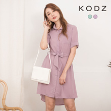 KODZ - Cute Breasted Chiffon Dress with Tie-190892