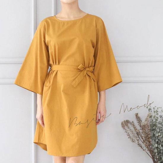 オーサムキラシンプルベルトワンピース231918 綿ワンピース/ 韓国ファッション