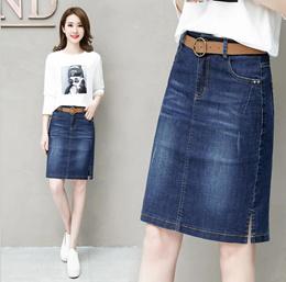 Korean version of the slim stretch denim skirt women s skirt skirt skirt bag hip dress in a skirt pl