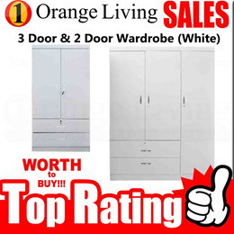 [FURNITURE SALES] 2 DOOR 3 DOOR WARDROBE (WHITE) AT LOW PRICE WITH FREE DELIVERY AND INSTALLATION!!!